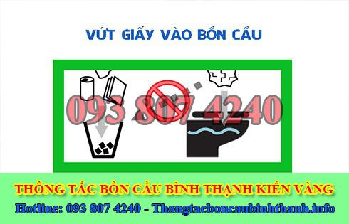 Thông bồn cầu bị nghẹt giấy Quận Bình Thạnh giá rẻ 0938074240